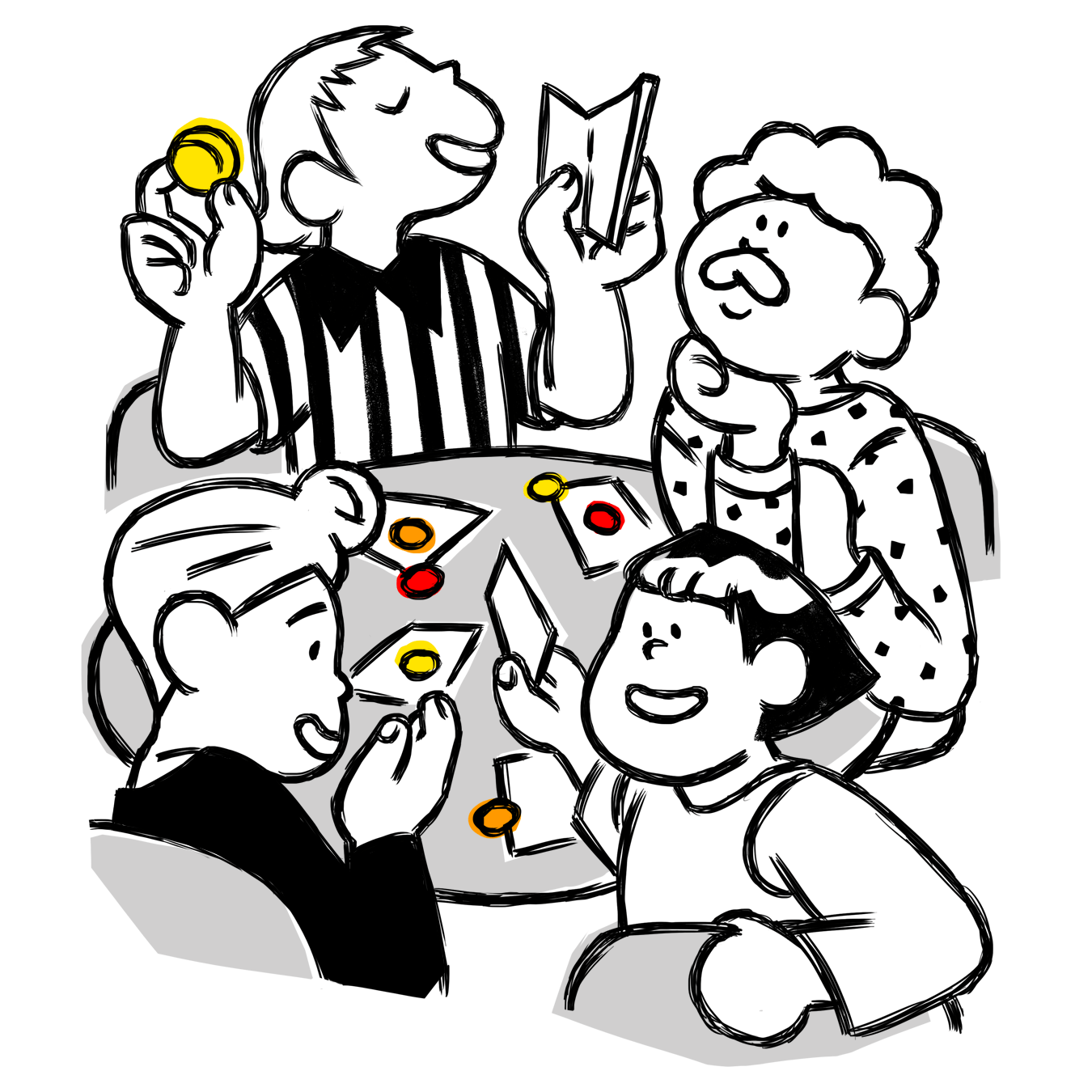 illustration of friends playing FlipTales